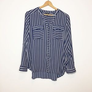 A.N.A. Striped navy blue white blouse Size large